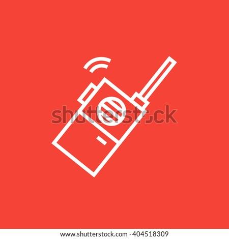 Portable radio set line icon. - stock vector
