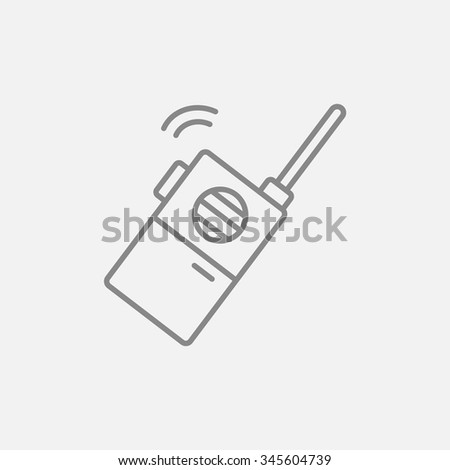 Portable radio set line icon for web, mobile and infographics. Vector dark grey icon isolated on light grey background. - stock vector
