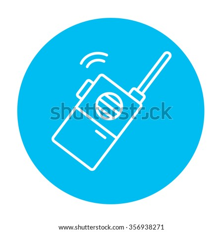 Portable radio set line icon for web, mobile and infographics. Vector white icon on the light blue circle isolated on white background. - stock vector