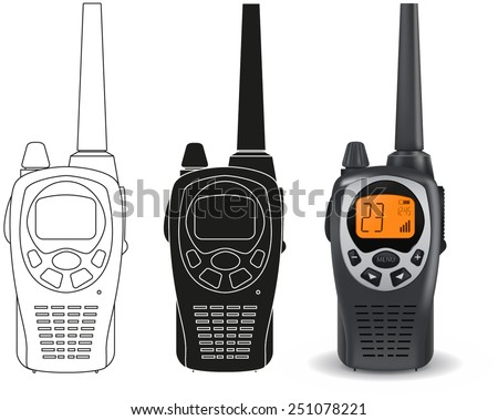 Portable radio transceiver sets. Vector illustration.  - stock vector