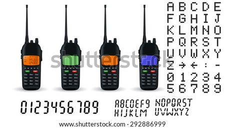 Portable radio transceiver sets. Vector isolated - stock vector
