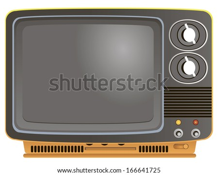 Portable retro analog television in a plastic case. Vector illustration. - stock vector