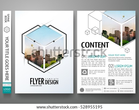 Portfolio design template vector.Minimal brochure report business flyers magazine poster.Abstract box square in cover book presentation.City concept in A4 size layout.