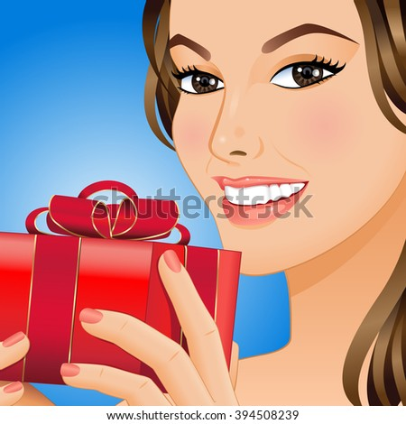 Portrait a smiling woman with gift box in her hands. Vector illustration. - stock vector