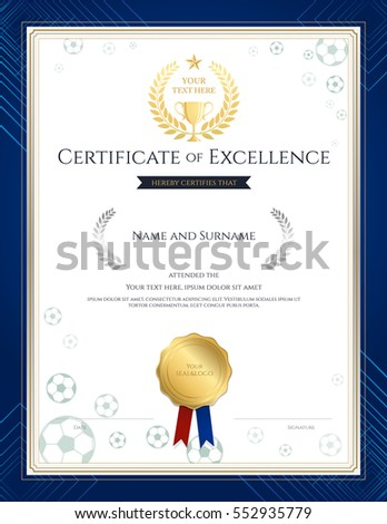 Certificate Excellence Template Sport Theme Basketball Stock