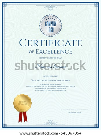 Portrait Certificate Of Excellence Template With Gold Seal And Blue Border