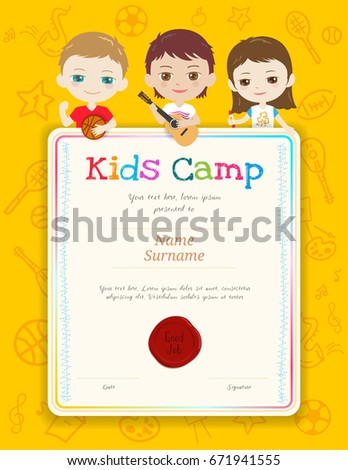 Kids summer camp certificate document template stock vector portrait colorful kids award diploma certificate template in cartoon style with happy boy and girl yadclub Choice Image