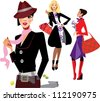 portrait fashion women - stock vector