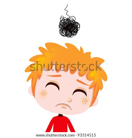 Portrait illustration of a worried kid expressing sadness and depression - stock vector