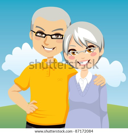 Portrait illustration of lovely cheerful retired couple together - stock vector