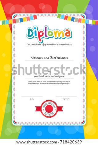 Portrait Kids Diploma Or Certificate Template With Colorful Background  Certificate Template For Kids