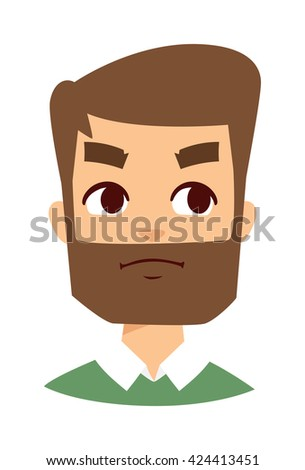 Portrait normal man angry face looking furious. Young man angry face screaming and cartoon angry face character. Angry face vector character and angry face mad adult furious male emotion. - stock vector