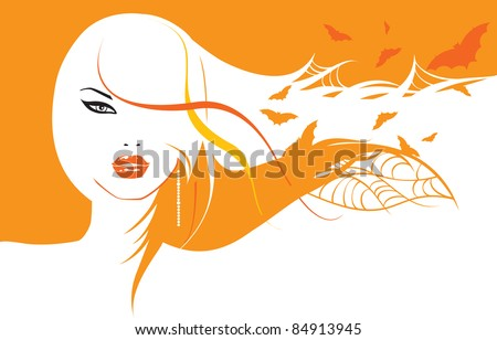 portrait of a beautiful halloween girl with bats in her hair - stock vector