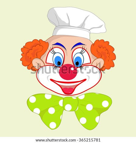 Portrait of a cheerful clown cook with bow - stock vector