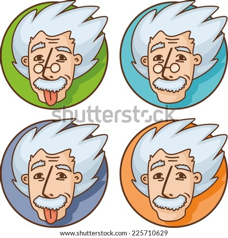 Portrait of a cheerful scientist set - stock vector