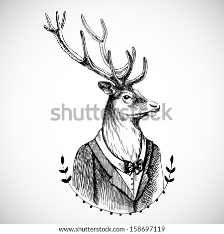 Portrait of a deer in a tuxedo . Hand drawn vector illustration. Hipster style/ - stock vector