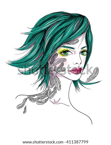 Portrait of a girl with a tattoo. The girl-bird on white background. Fashion vector illustration. Print for T-shirt - stock vector
