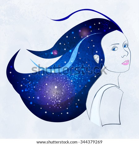 Portrait of a girl with her hair in space