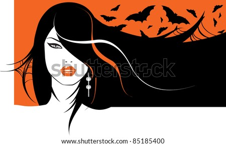 portrait of a glamour halloween girl with bats in her hair - stock vector