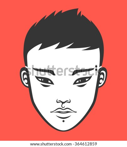 Portrait of a handsome young asian guy. Vector illustration. - stock vector