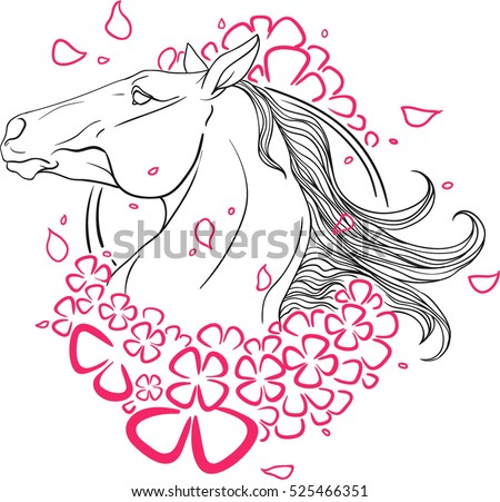 Portrait Horse Pink Flowers Coloring Page Stock Photo (Photo, Vector ...