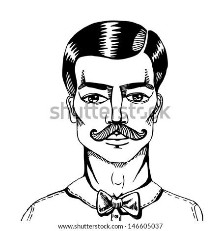 Astonishing Portrait Man Whit Moustache Vector Illustration Stock Vector Hairstyle Inspiration Daily Dogsangcom