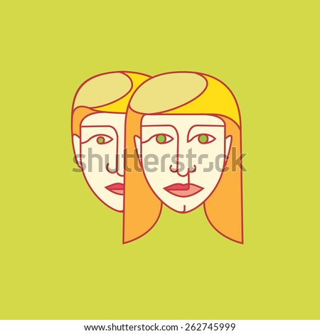 Portrait of a Man Woman I feed on background - stock vector