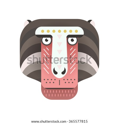Portrait of a monkey made in trendy flat style vector. African animal. Safari label or t-shirt design with cute animal character. - stock vector