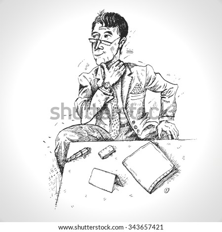 Portrait of a serious businessman sitting at a table. Vector sketch illustration. In engraving style. Drawn by hand