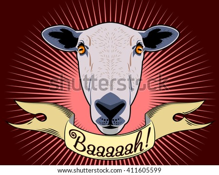 Portrait of a sheep and a banner - stock vector