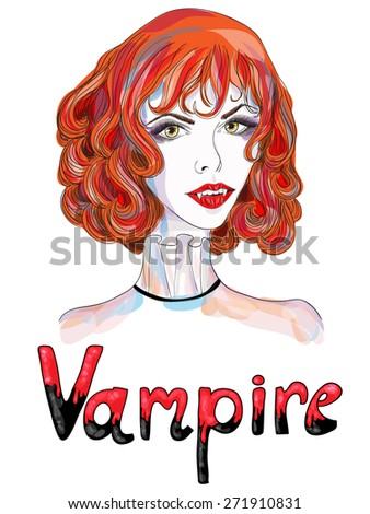 Portrait of a vampire girl with red hair. Vector illustration - stock vector