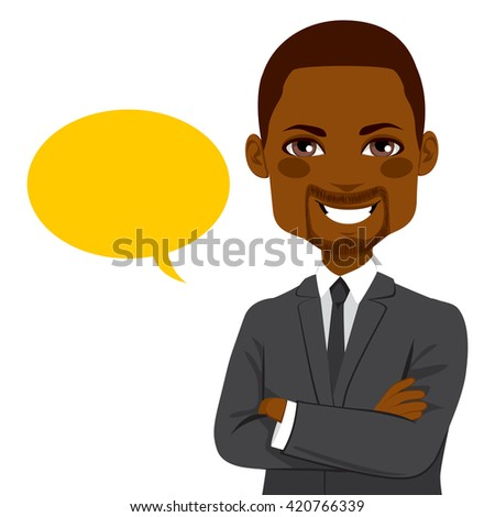 Portrait of a young attractive African American confident businessman with yellow blank balloon - stock vector