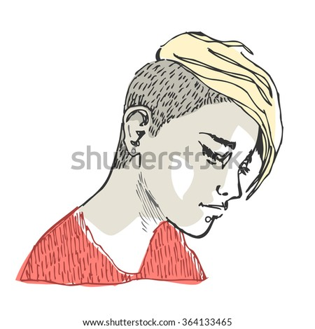 Portrait of a young beautiful girl with a trendy hairstyle. Vector illustration.