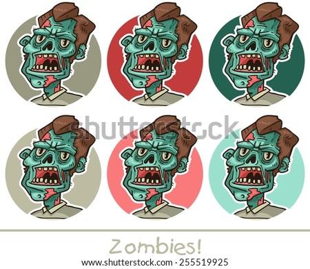 portrait of a zombie set circle - stock vector