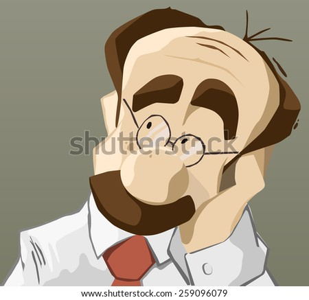 Portrait of adult thinking man with hand on chin - stock vector