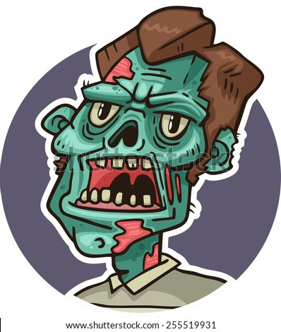 portrait of an angry zombie - stock vector
