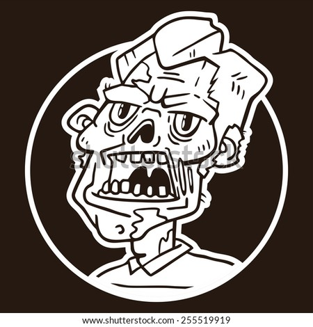 portrait of an angry zombie circle sticker - stock vector