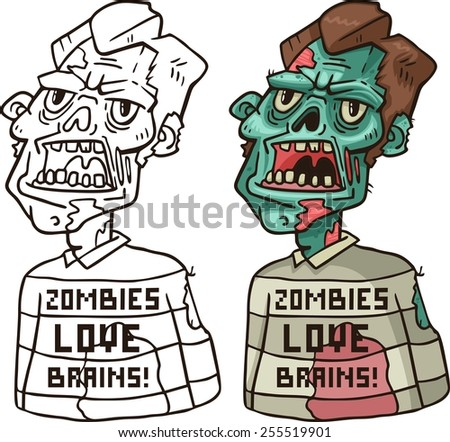 portrait of an angry zombie in a sweater Coloring - stock vector