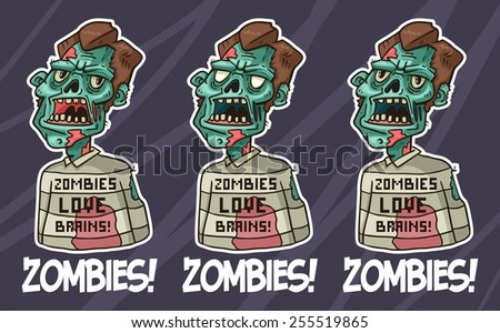 portrait of an angry zombie in a sweater set - stock vector