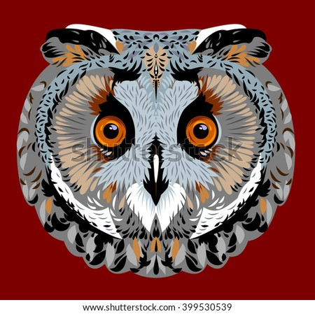 Portrait of an eagle owl - stock vector