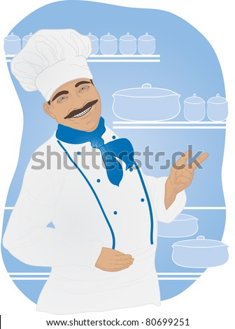 Portrait of an handsome chef on the background of the kitchen - stock vector