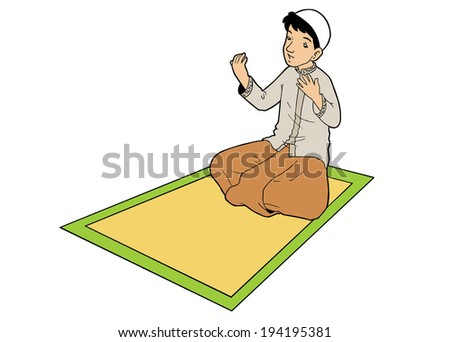 Portrait of asian muslim man praying on mat - stock vector