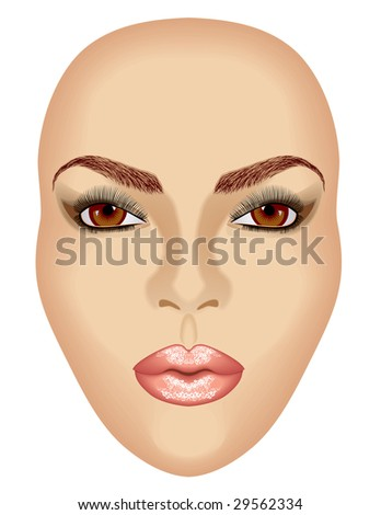 Portrait of attractive beautiful young woman. Mask. Vector/