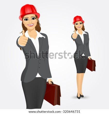 portrait of attractive engineer, entrepreneur or architect business woman with red helmet and briefcase giving thumbs up isolated over white background - stock vector