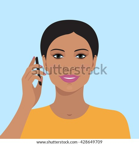 Portrait of attractive indian woman talking on the mobile phone. Vector illustration of beautiful woman. Flat design. Cute avatar portrait of smiling woman face. - stock vector