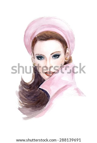 Portrait of beautiful  woman with long hair wearing a beret - stock vector