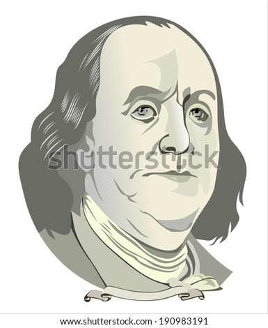 Portrait of Benjamin Franklin - stock vector