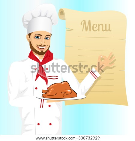 portrait of cheerful hipster male chef holding a tray with christmas roasted turkey and showing ok sign against blank retro scroll of menu