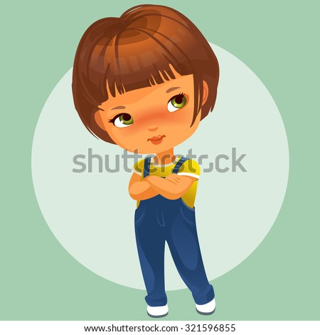 Portrait of cute little girl with brown hair wearing blue jeans jumpsuit, hands crossed. Vector illustration. - stock vector