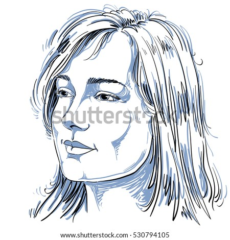 Portrait of delicate good-looking dreamy still woman, black and white vector drawing. Emotional expressions idea image.